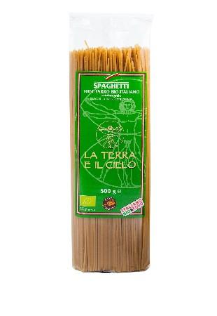 Spaghetti 100 % épeautre bio demi-complet.<br /> <br /> La Terra E Il Cielo:<br /> <br /> Cette coopérative sélectionne ses produits à partir d'ingrédients biologiques gorgés de soleil, aux saveurs de l'Italie.<br /> <br /> La Terra E Il Cielo peut être considérée comme la coopérative pionnière en matière d'agriculture biologique en Italie. Elle regroupe une centaine de fermiers, soucieux des matières premières qu'ils utilisent. Ces hommes et femmes jouent un rôle essentiel dans la protection de l'environnement et le développement rural dans la région des Marches.<br /> <br /> Ingrédients :<br /> Farine* demi-complète d'épeautre biologique, eau  <br /> <br /> *Ingrédients issus de l'agriculture biologique.<br /> <br />