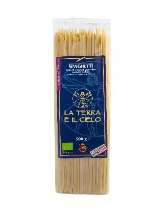Spaghetti 100% blé dur blanc façonné dans des moules en bronze.<br /> <br /> La Terra E Il Cielo:<br /> <br /> Cette coopérative sélectionne ses produits à partir d'ingrédients biologiques gorgés de soleil, aux saveurs de l'Italie.<br /> <br /> La Terra E Il Cielo peut être considérée comme la coopérative pionnière en matière d'agriculture biologique en Italie. Elle regroupe une centaine de fermiers, soucieux des matières premières qu'ils utilisent. Ces hommes et femmes jouent un rôle essentiel dans la protection de l'environnement et le développement rural dans la région des Marches.<br /> <br /> Ingrédients :<br /> Semoule de blé dur*<br /> <br /> *Ingrédients issus de l'agriculture biologique.